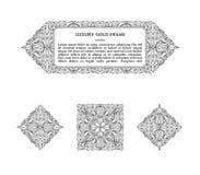东部金子阿拉伯传染媒介线设计模板 卡片和明信片的回教花卉框架 皇族释放例证