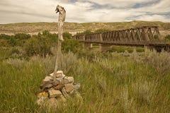 东部Coulee桁架桥在荒地 免版税库存图片