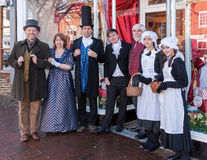 东部GRINSTEAD,西部SUSSEX/UK - 12月20日:Dickensian天 免版税库存照片