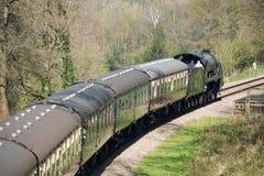 东部GRINSTEAD, SUSSEX/UK - 4月06日:在Bluebe的蒸汽火车 库存照片