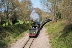 东部GRINSTEAD, SUSSEX/UK - 4月06日:在Bluebe的蒸汽火车 免版税库存照片