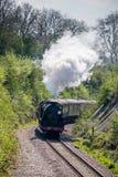 东部GRINSTEAD, SUSSEX/UK - 4月06日:在Bluebe的蒸汽火车 免版税图库摄影