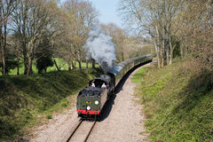 东部GRINSTEAD, SUSSEX/UK - 4月06日:在Bluebe的蒸汽火车 库存图片