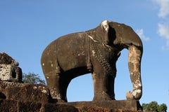 东部Mebon寺庙大象 免版税图库摄影