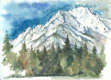 东Sayan的山和森林的水彩 免版税库存图片