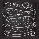 丝带和下垂乱画白垩集合 免版税图库摄影