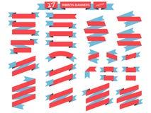 丝带横幅平的设计集合 免版税库存照片