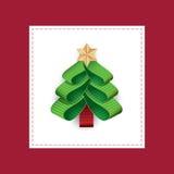 从丝带的传染媒介风格化圣诞树 库存例证