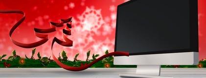 丝带的综合图象在圣诞树形状的  免版税库存图片
