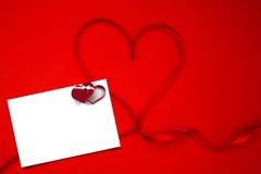 丝带的综合图象塑造了在心脏 图库摄影