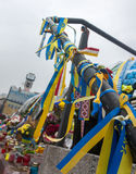 丝带背景在乌克兰颜色的 免版税库存照片