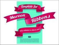 丝带设置了汇集 在蓝色背景设计元素的桃红色,褐红,红色或者猩红色颜色 向量例证