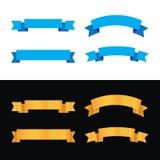 丝带设计蓝色颜色和金子颜色丝带集合 向量例证