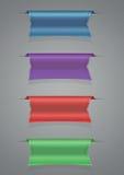 丝带集合蓝色紫色红色绿色 库存照片