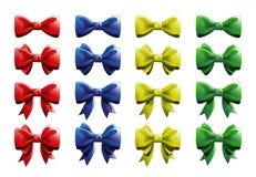 丝带鞠躬-红色,蓝色,黄色和绿色-所有颜色汇集 免版税库存图片