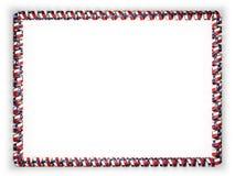 丝带,美国框架和边界与状态得克萨斯旗子的,渐近从金黄绳索 3d例证 库存照片