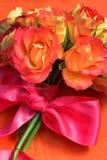 丝绸桃红色丝带的玫瑰 免版税库存图片
