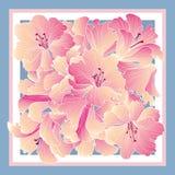 丝绸tiussiue的花卉样式装饰 精美颜色花de 免版税图库摄影