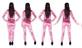 丝绒体育衣服的深色的妇女 免版税库存图片