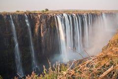 丝绸水在维多利亚瀑布,从津巴布韦的看法 库存图片