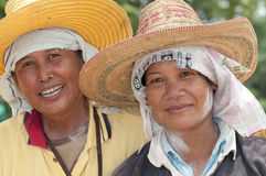 两一个种植园的妇女沿路在北部泰国 库存照片