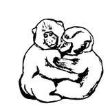 两三只猴子(图表) 库存图片