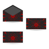 两与一件圆装饰品的信封,深灰与红色 库存图片