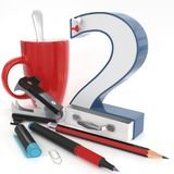 `两与办公室材料的` 3d数字 免版税库存图片