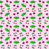 两与叶子无缝的样式的酸樱桃 免版税库存照片