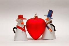 两与大红色心脏 库存图片