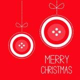 两与弓破折号线的垂悬的红色按钮圣诞快乐球thred补花卡片平的设计 免版税库存图片