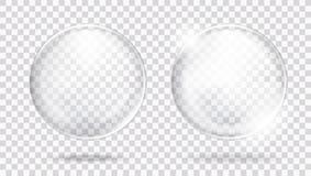两与强光和阴影的大光滑的白色透明玻璃球形 库存例证