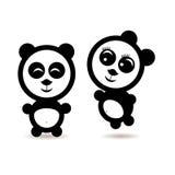 两个一点动画片熊猫恋人 向量例证