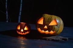 两个万圣夜南瓜在黑暗的森林里顶起面孔 免版税库存照片