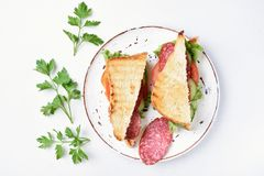 两个三明治,顶视图 库存图片