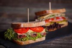 两个三明治用谷物面包用莴苣,火腿 免版税库存照片