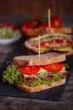 两个三明治用谷物面包用莴苣,火腿 免版税库存图片