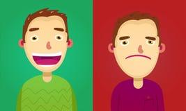 两个不同面孔表示收藏的可爱的棕色毛发的人 库存图片