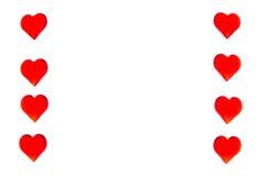 以两个专栏的形式明亮的红色心脏在每边 为了使用华伦泰` s天,婚礼,国际妇女` s天 免版税库存图片