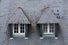 两个中世纪屋顶窗口在法国 免版税库存照片