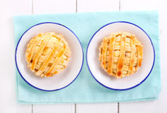 两个乳清干酪微型格子馅饼 免版税库存图片