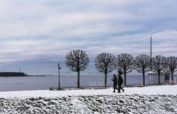 两个人去与一把铁锹在冬天在St的芬兰海湾附近 库存图片
