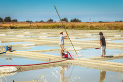 两个人在盐沼收获盐用传统方式 库存照片