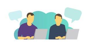 两个人工作坐在膝上型计算机和聊天 每天任务在工作在桌上 库存例证