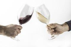 两个人庆祝与玻璃 免版税库存照片