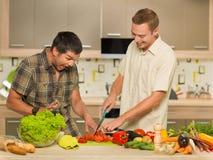 两个人获得乐趣在厨房 免版税库存照片