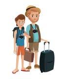 两个人年轻资深旅游旅行 免版税库存照片