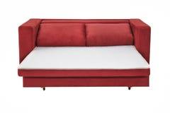 两个位子舒适红色床沙发 免版税库存照片