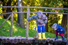两个兄弟兄弟姐妹过一点木桥的男孩孩子  库存照片