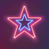 两个光亮的霓虹星 您的设计的神奇明亮的标志板 也corel凹道例证向量 免版税库存照片